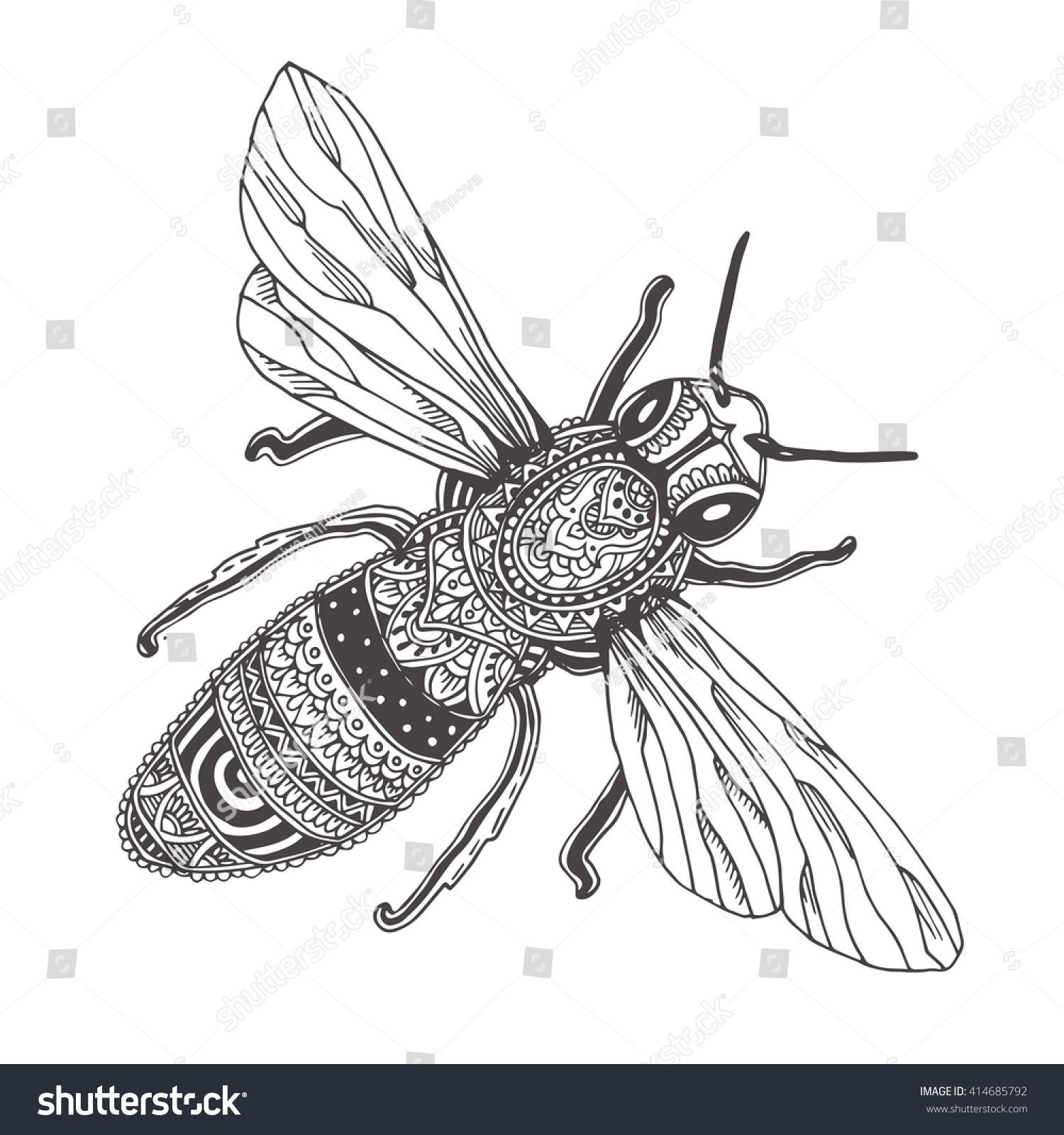 Bee Handdrawn Honeybee Ethnic Floral Doodle Stock Vector 414685792 ...