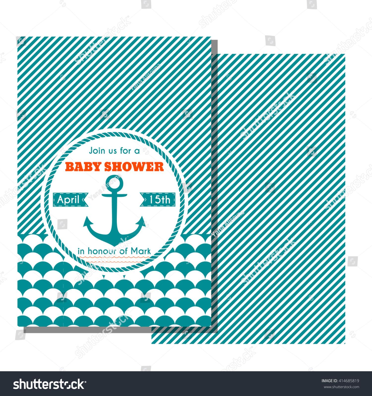 Nautical Baby Shower Card Sea Theme Stock Vector