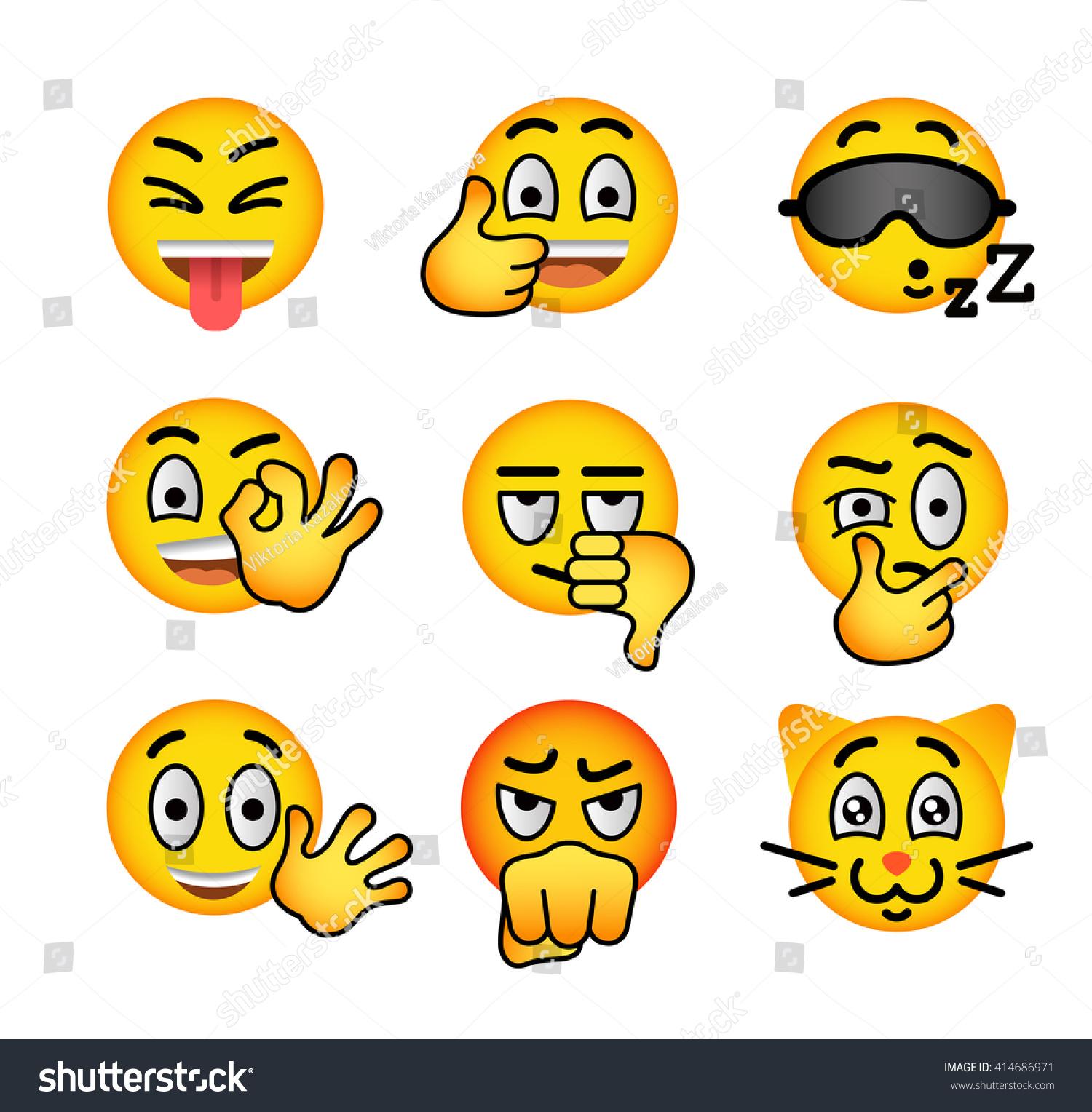 Emoji Emoticons Smiley Face Flat Vector Stock Vector Royalty Free