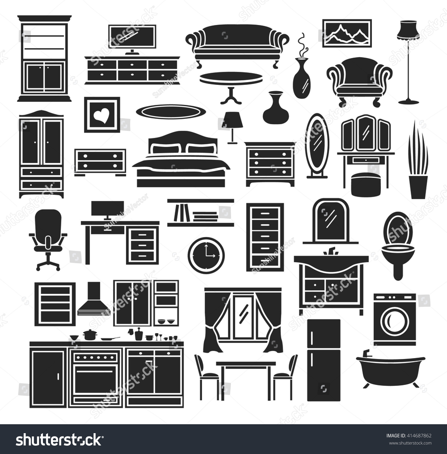 Furniture Items Icons Set Bedroom Living Stock Vector