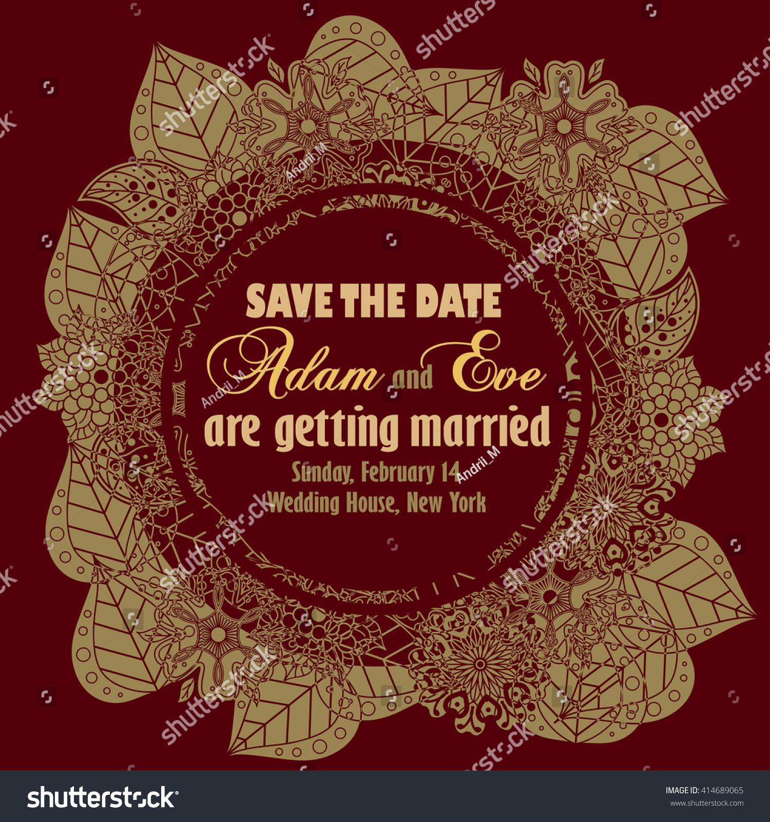 Wedding Invitation Save Date Card Floral Stock Illustration ...