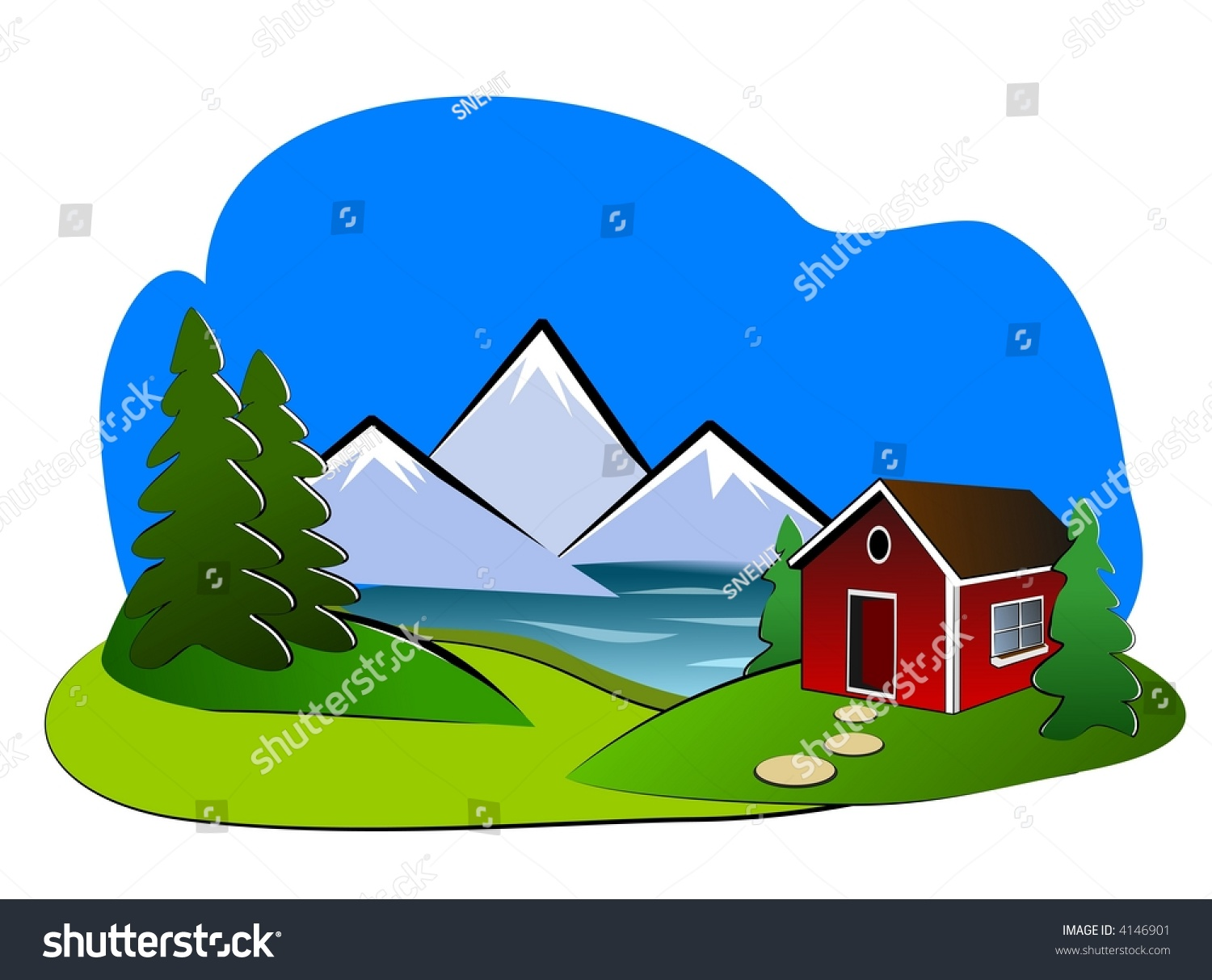 Landscape Clipart Showing Small Cottage At Lake Shore