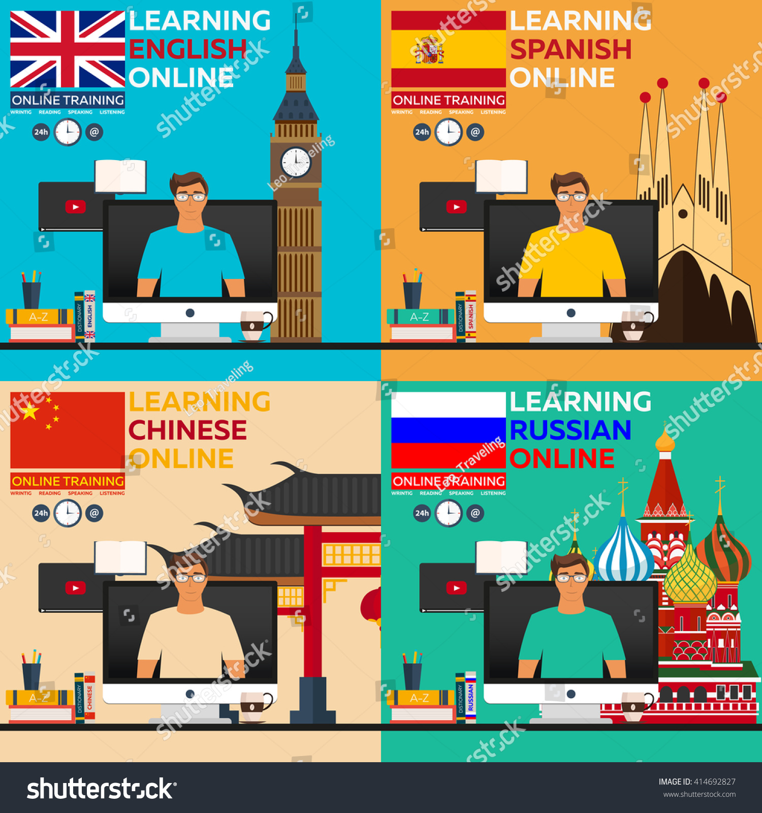 learning language online russian english spanish stock vector