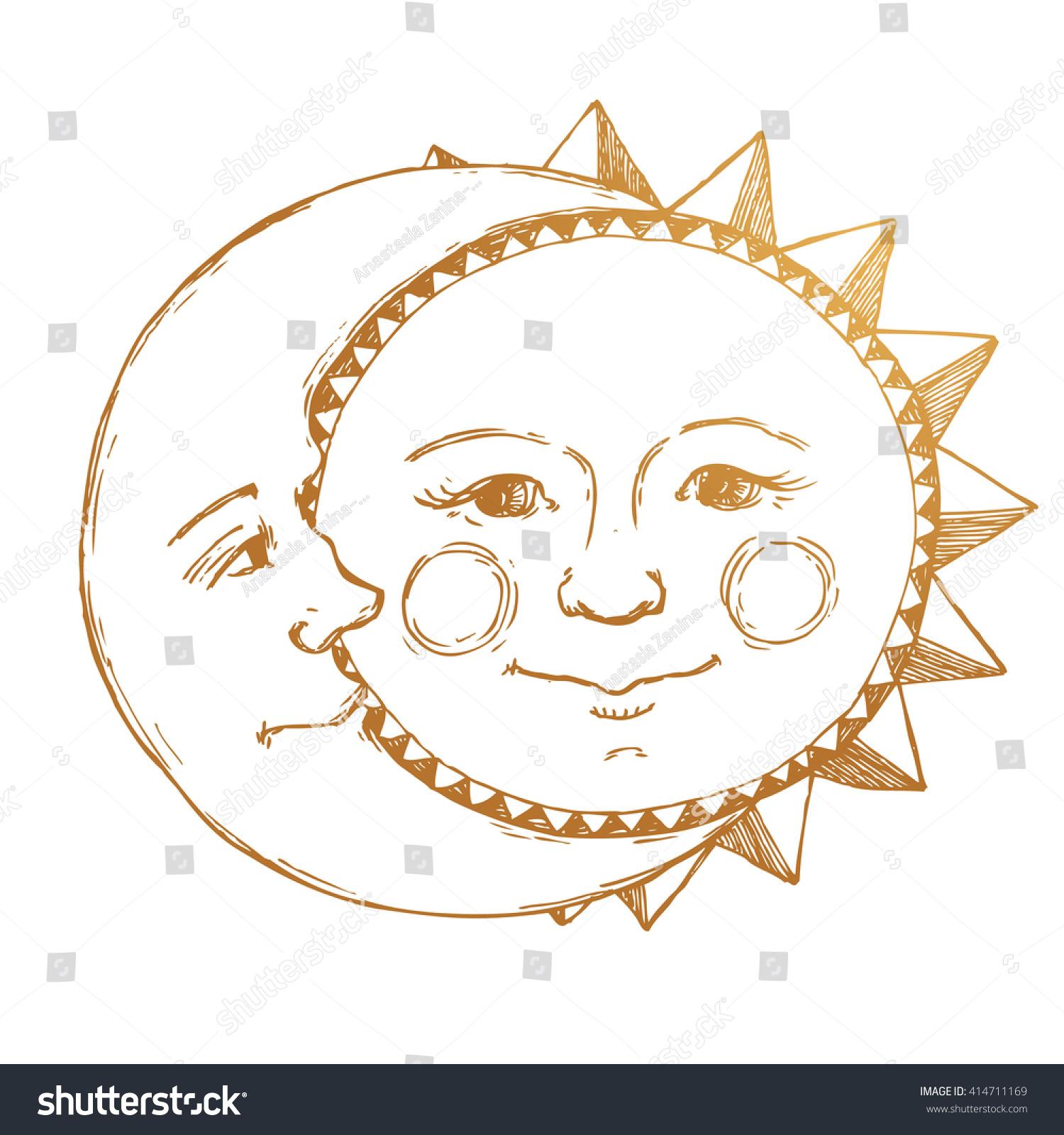 Line Drawing Moon : Retro illustration sun moon face tattoo stock vector