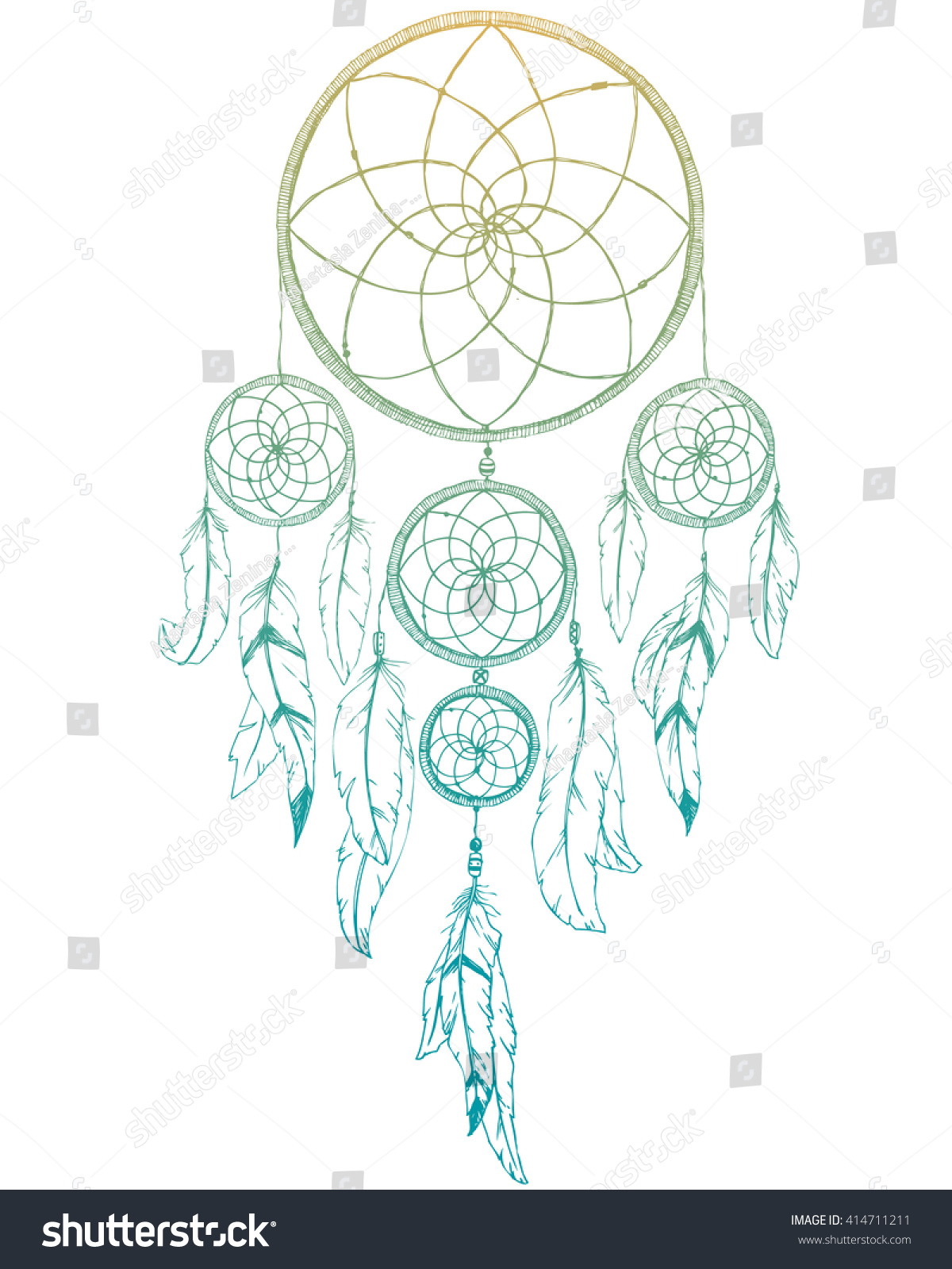 Graphic design dream catcher feathers boho stock vector for Dream catcher graphic