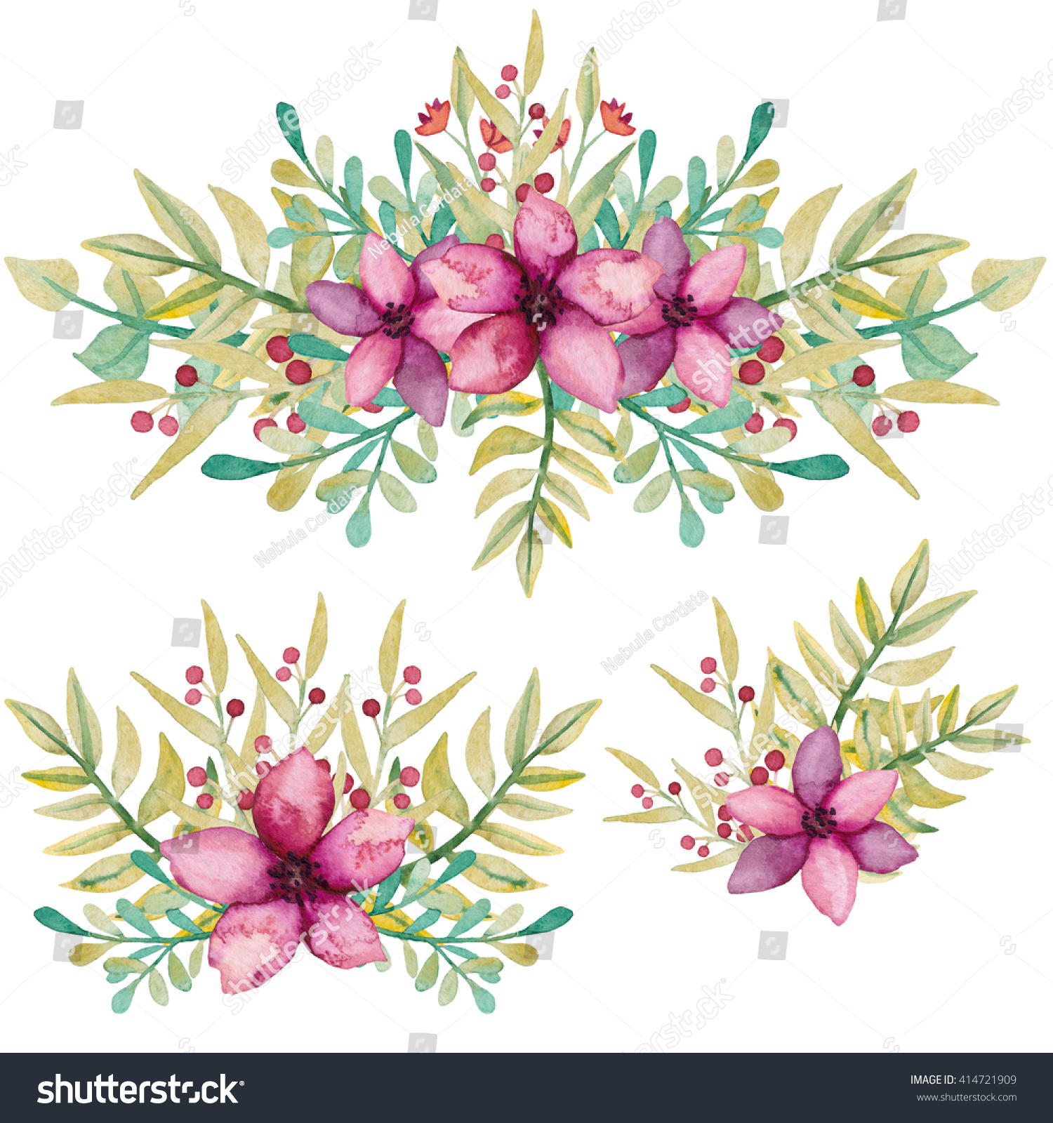 Set Watercolor Bouquets Pink Flowers Green Stock Illustration