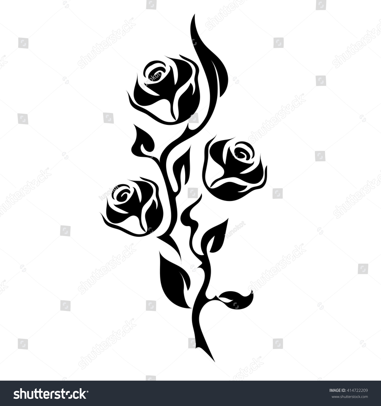 Rose Tattoo Silhouette Branch Three Flowers Stock Vector Royalty
