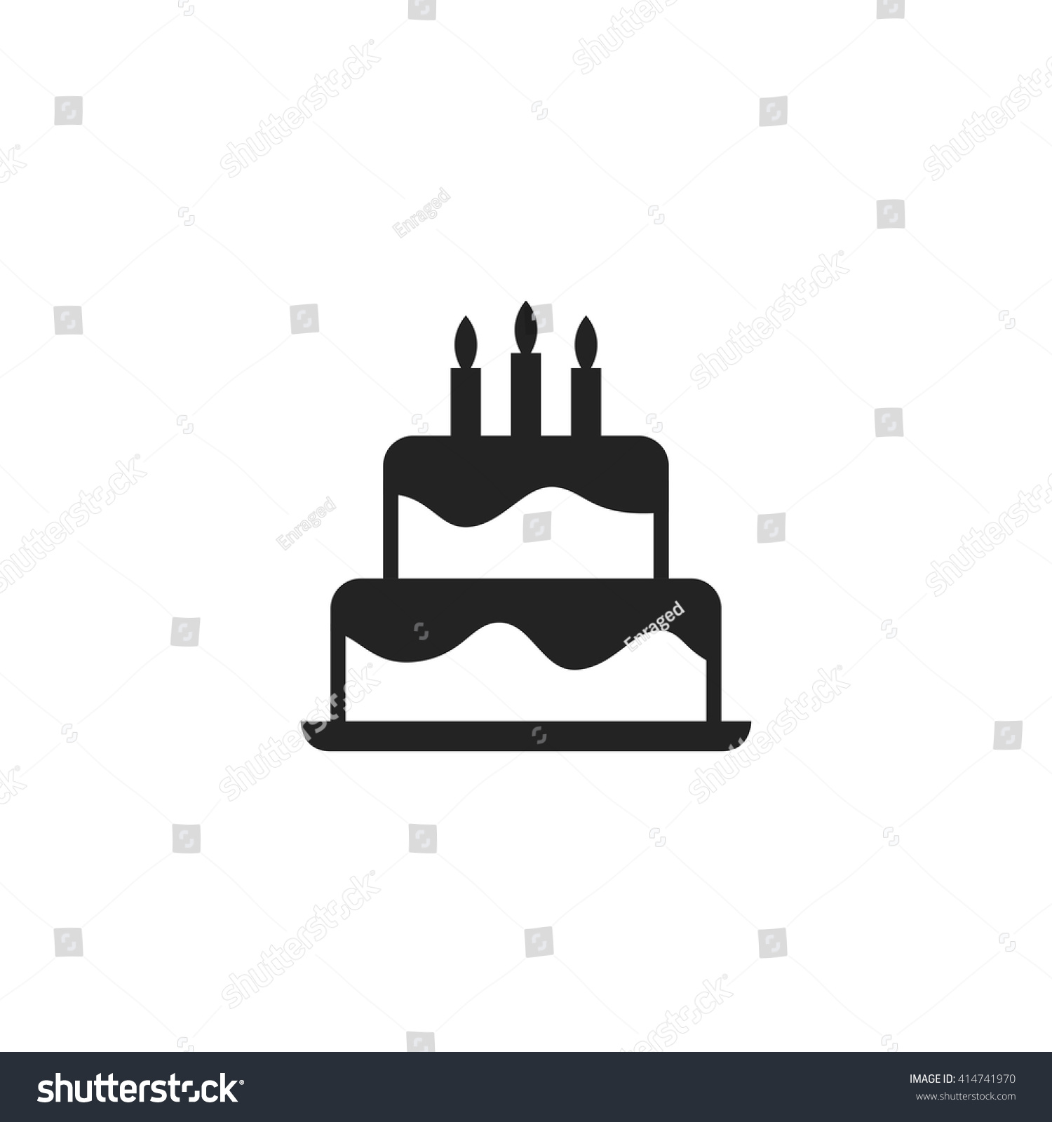Birthday Cake Icon Fill Black
