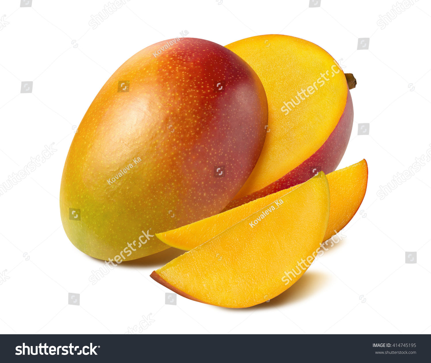 Mango beautiful cut slice half isolated stock photo 414745195 mango beautiful cut slice half isolated on white background as package design element ccuart Choice Image