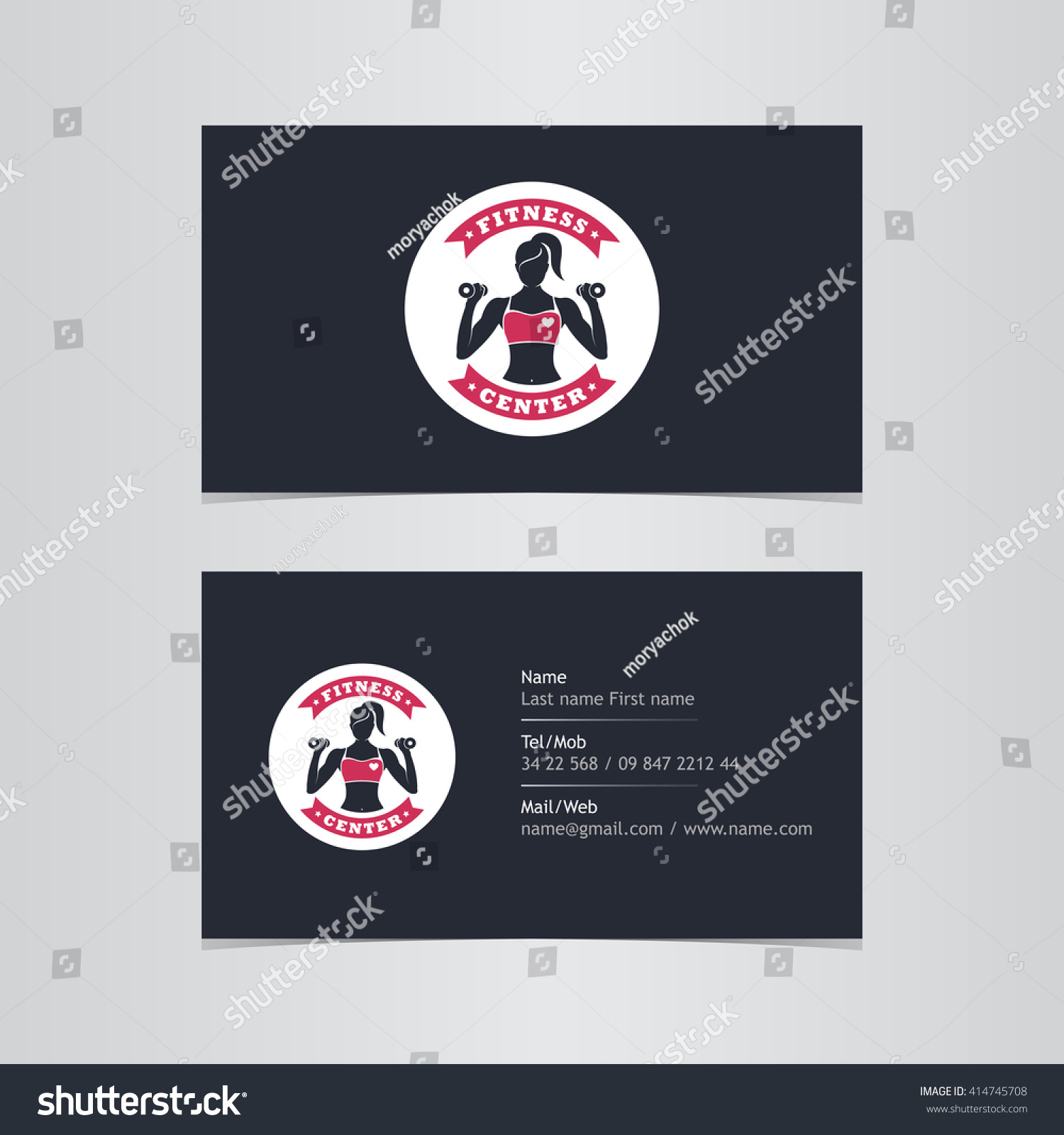 Business Card Gym Woman Fitness Sport Stock Vector 414745708 ...