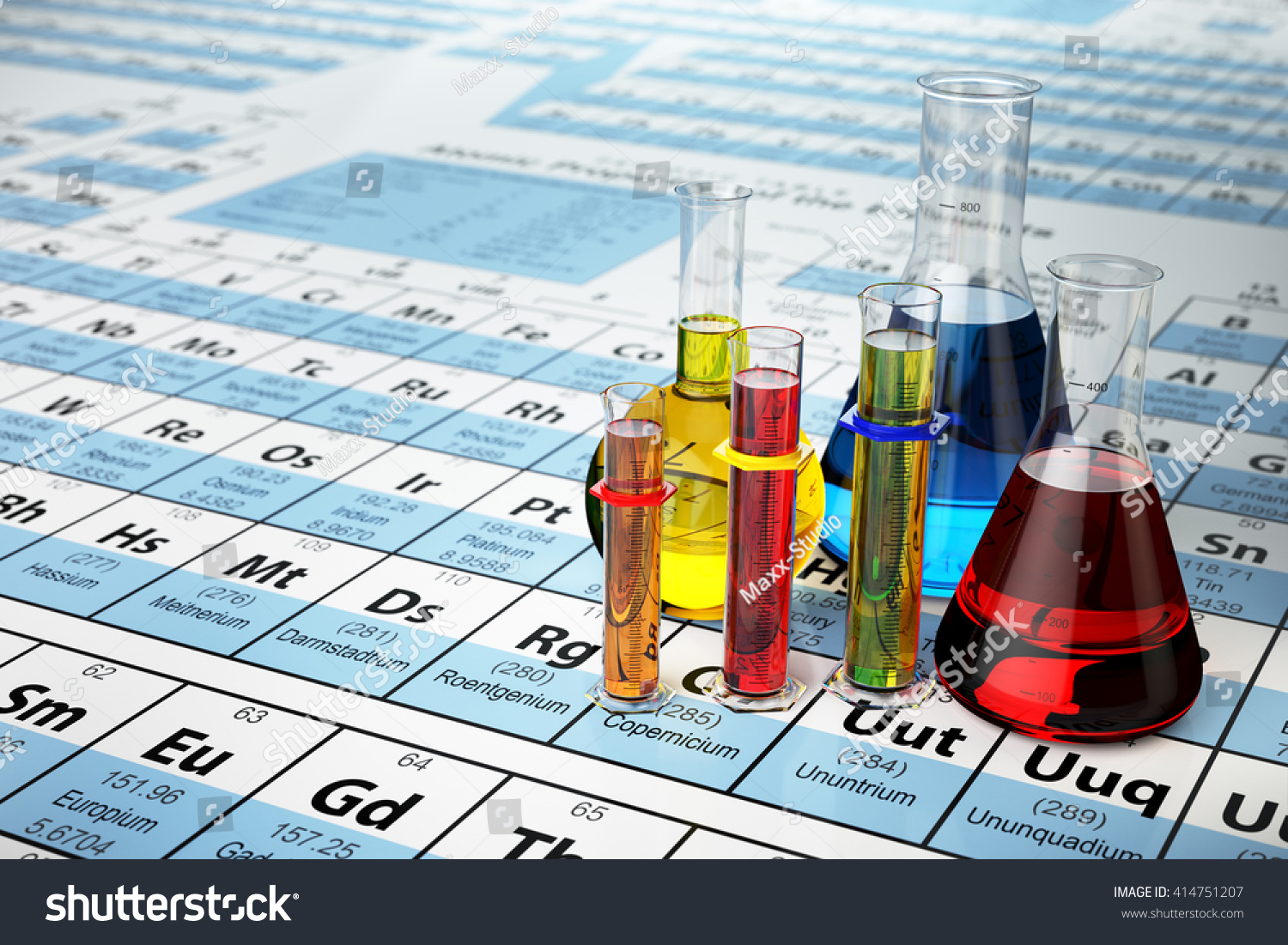 Science chemistry concept laboratory test tubes stock illustration laboratory test tubes and flasks with colored liquids on the periodic table gamestrikefo Choice Image