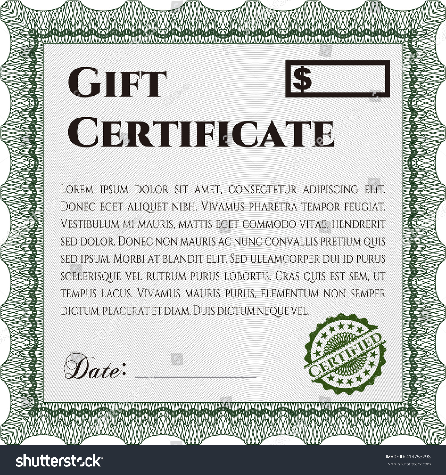 Modern Gift Certificate Template Stock Vector Shutterstock
