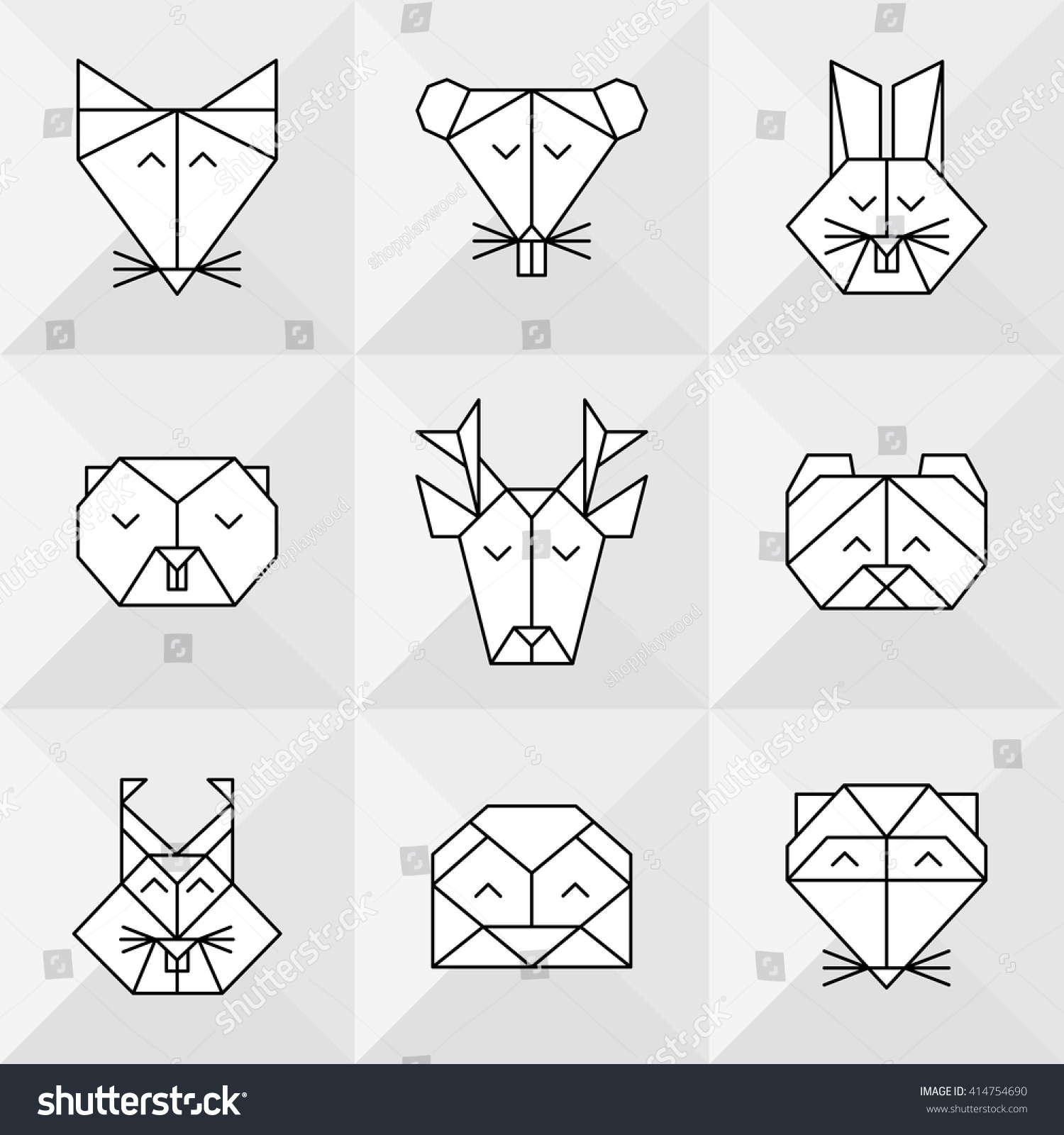 Vector Low Poly Animals Line Design Icon Set Tattoo Seamless Animal Pattern Origami Forest