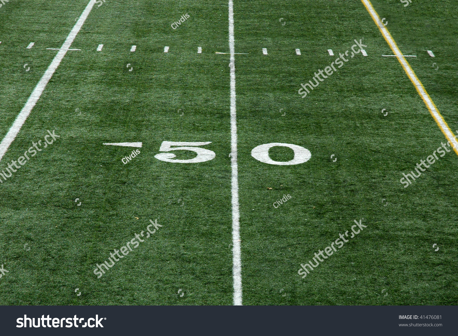 Backyard Turf Football Field : View Of Fifty Yard Line On An Artificial Turf Football Field Stock