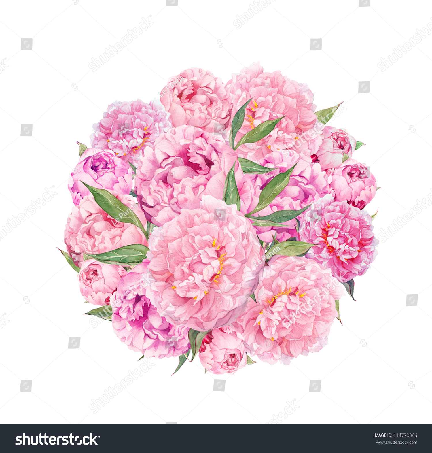 Floral circle background pink peony flowers stock illustration floral circle background with pink peony flowers watercolor dhlflorist Images