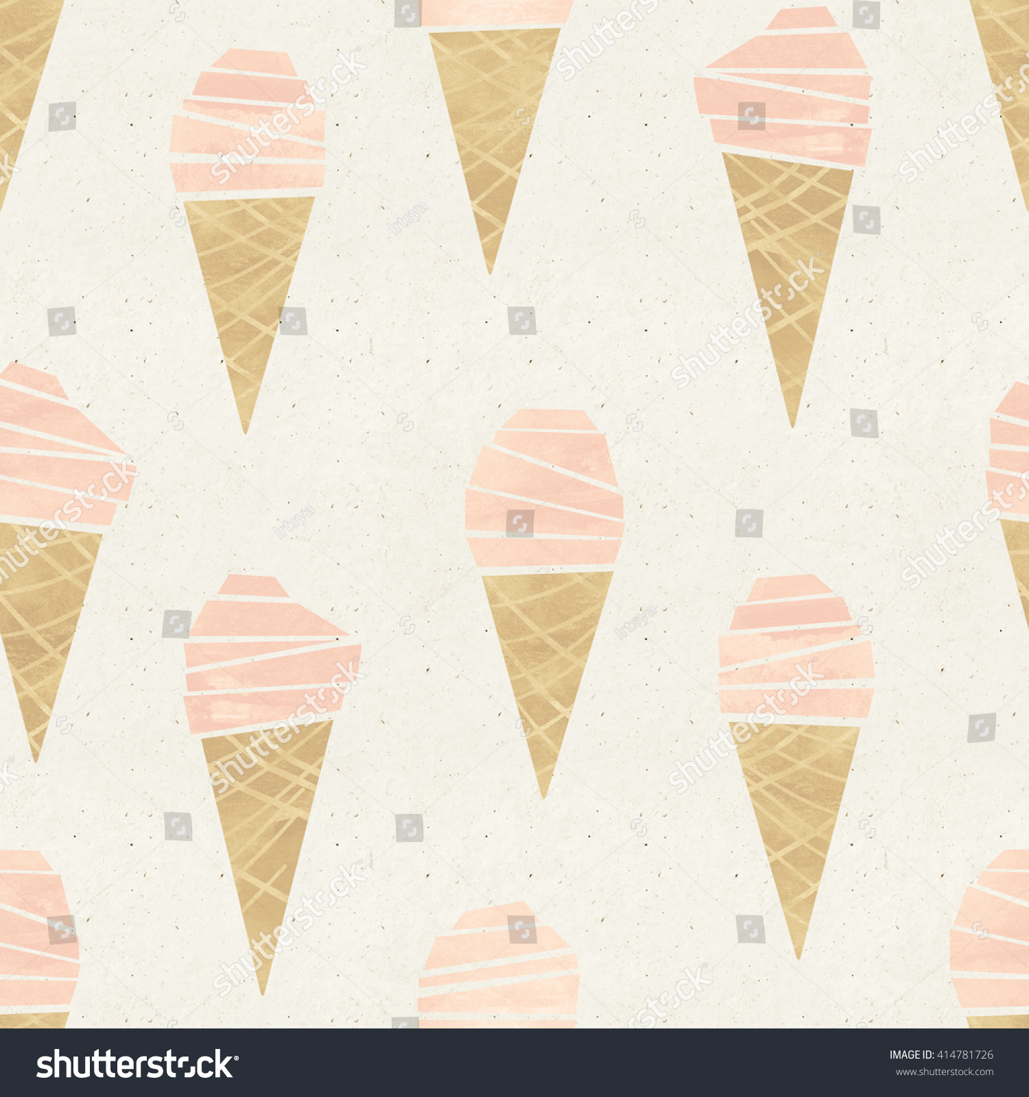Seamless Pattern With Hand Drawn Watercolor Ice Cream: Seamless Icecream Come Pattern On Paper Stock Illustration