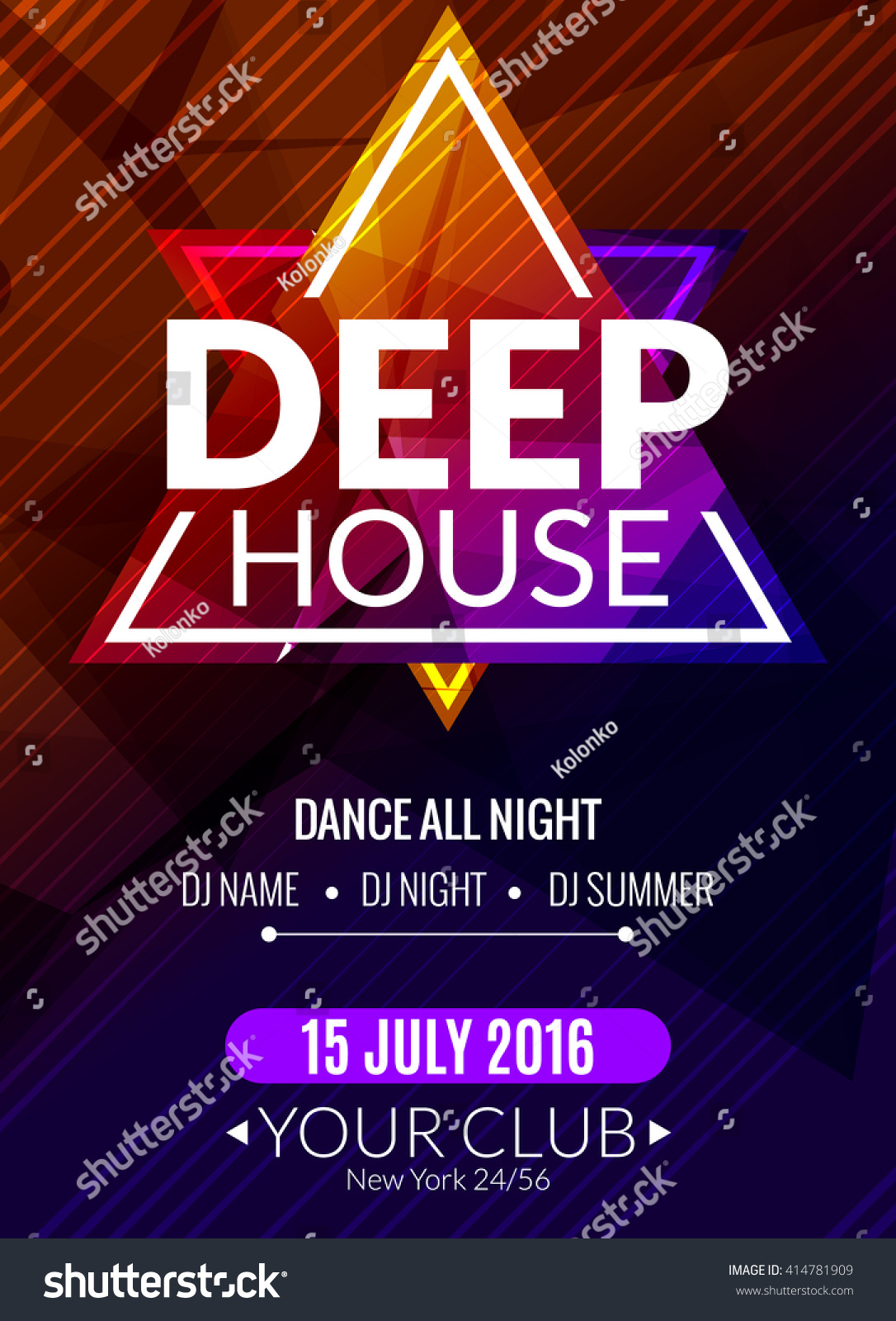 Club electronic deep house music poster stock vector for Trance house music