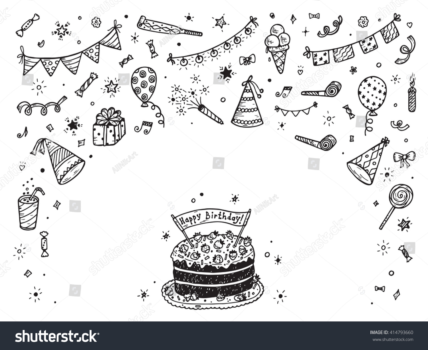 Birthday Party Elements Vector Set Happy Vector 414793660 – Birthday Cake Card Template