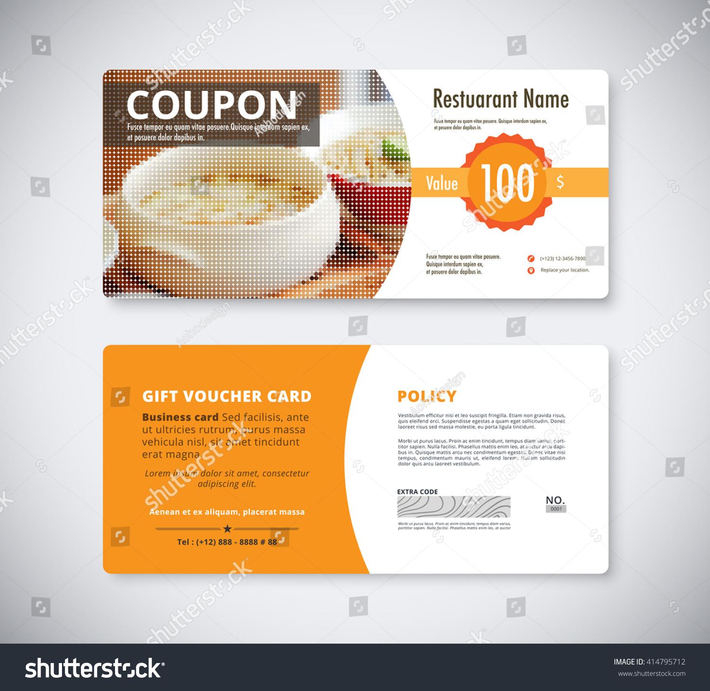 Gift Coupon Voucher Template Restaurant Flyer Vector – Food Voucher Template