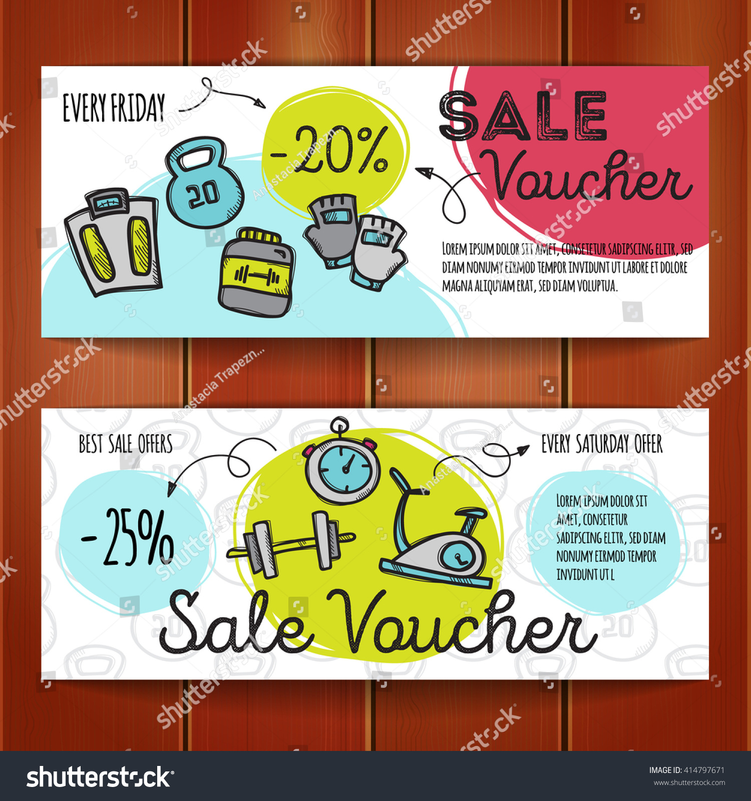 Vector Set Discount Coupons Sport Accessories Stock Photo (Photo ...