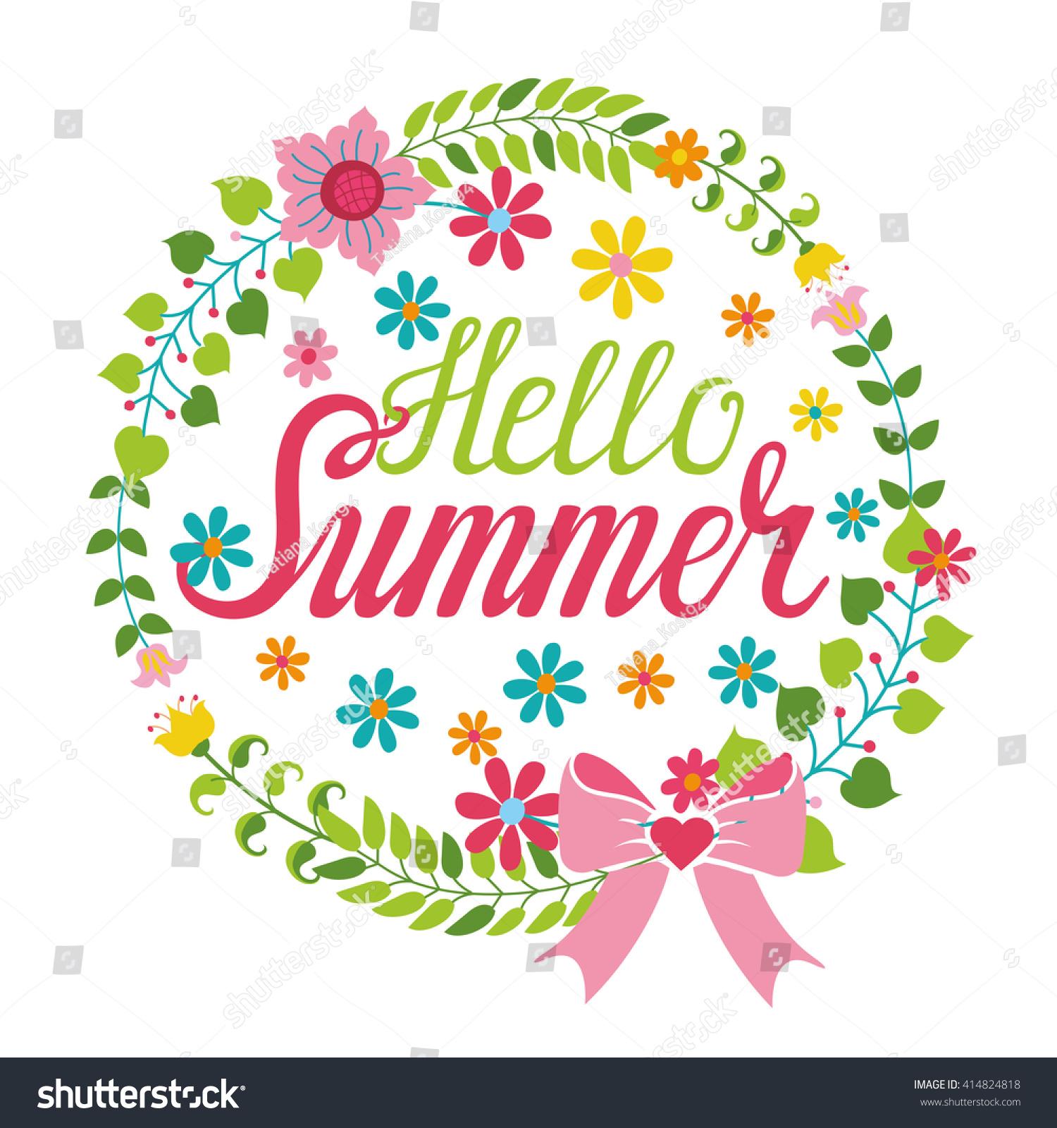 Summer Season Cardposter Vector Title Cartoon Flowerwreathlettering