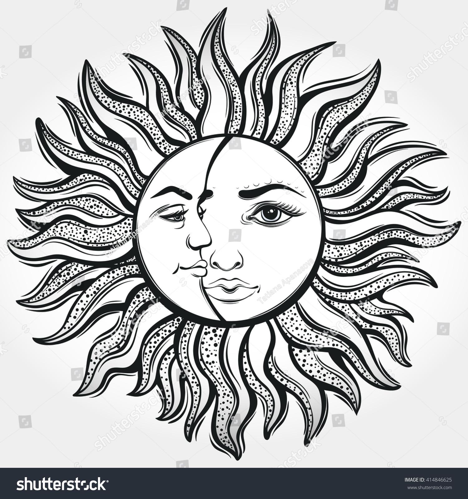 bohemian sun moon tattoo designvector illustration stock vektor 414846625 shutterstock. Black Bedroom Furniture Sets. Home Design Ideas