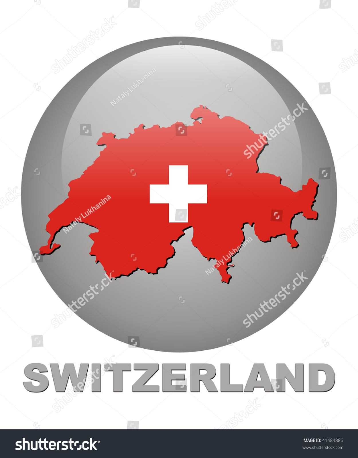 Country Symbols Switzerland Territory Card Arms Stock Illustration
