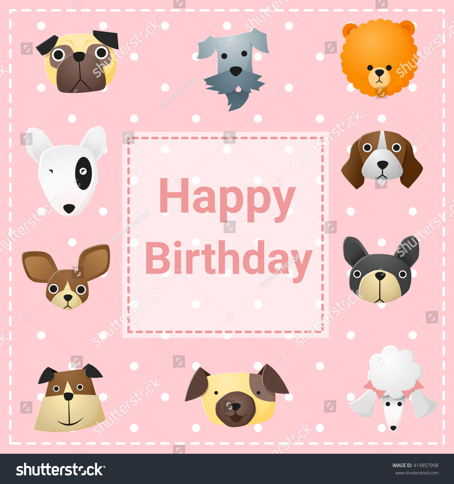 Cute Happy Birthday Card Funny Dogs Vector 414857998 – Happy Birthday Cards with Dogs
