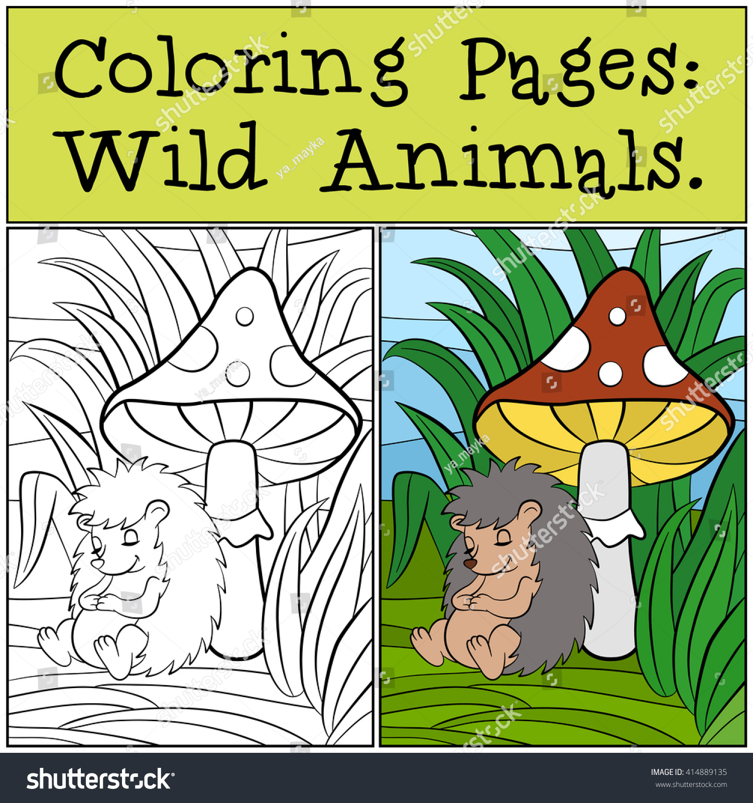 Coloring Pages Wild Animals Little Cute Stock Vector 414889135 ...