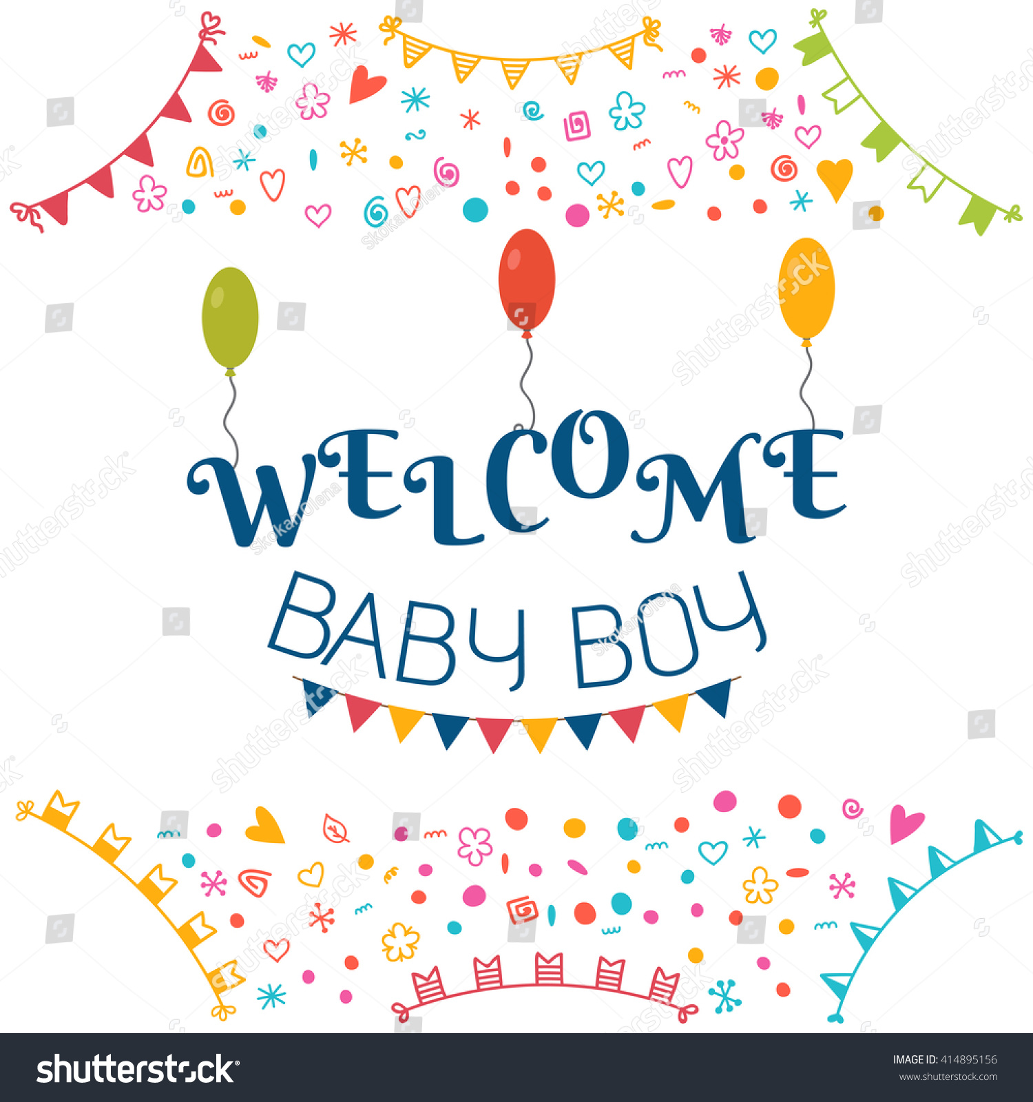 Welcome Baby Boy. Baby Shower Greeting Card. Cute Baby Boy Shower Card. Baby