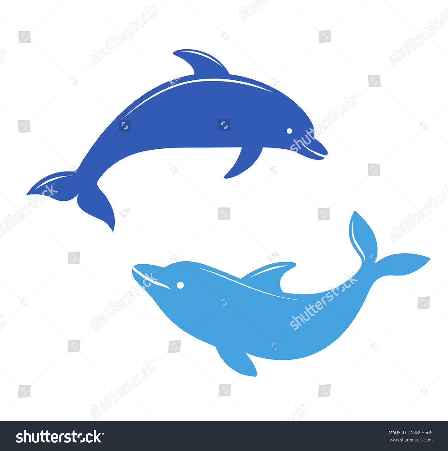 dolphin silhouettes on white background stock vector 414895666