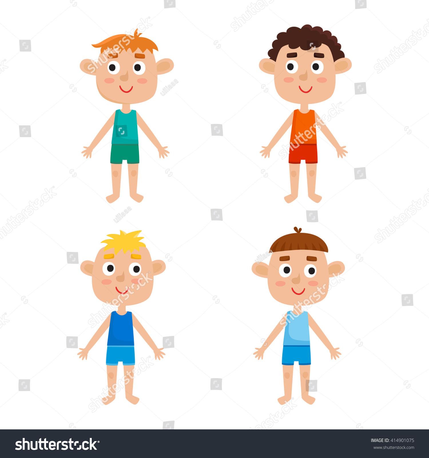 Young European Boys Body Template Front Stock Vector 414901075 ...