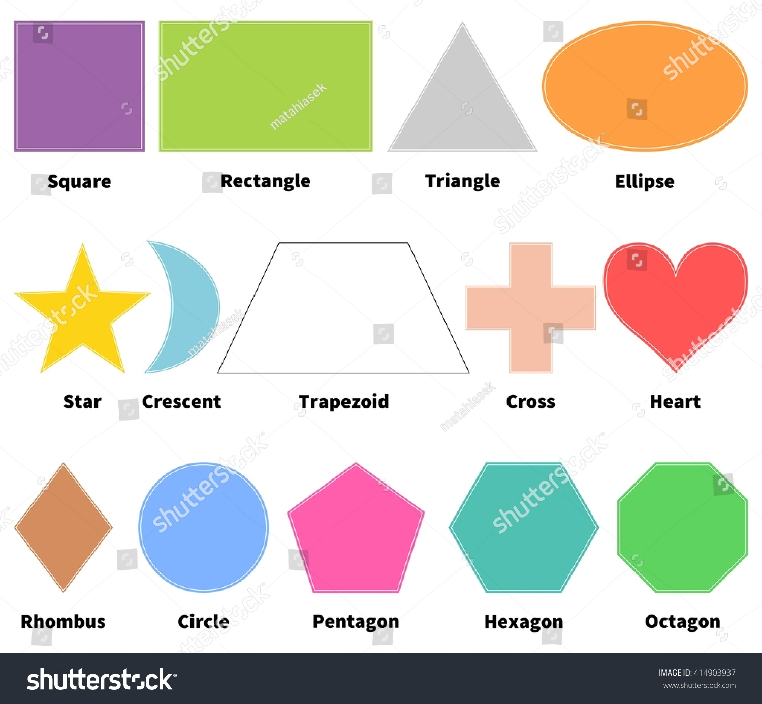 Basic Shapes Kids Learn 2d Shapes Stock Vector 414903937