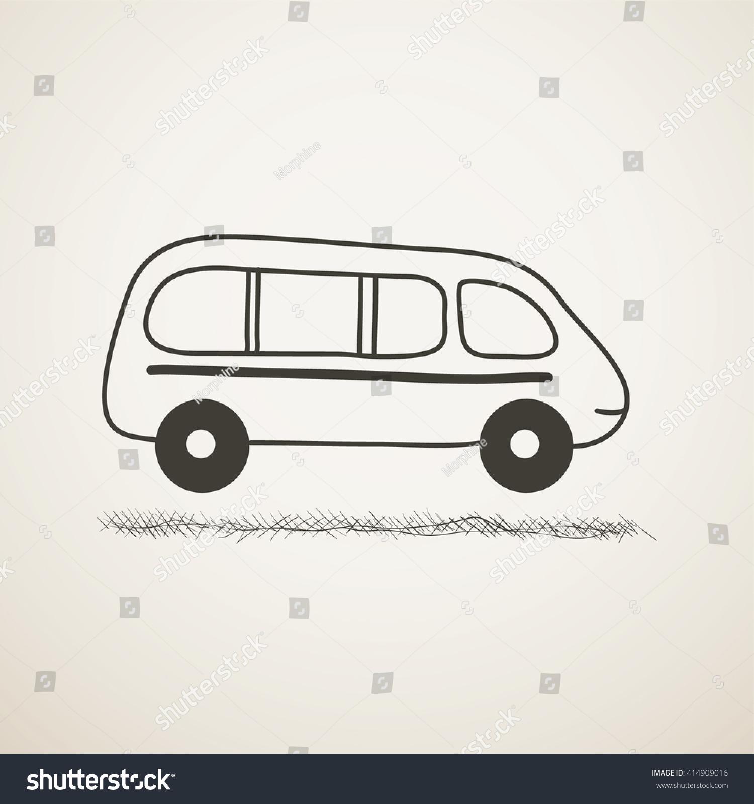 Black and white cartoon minibus sketch icon primitive picture of automobile