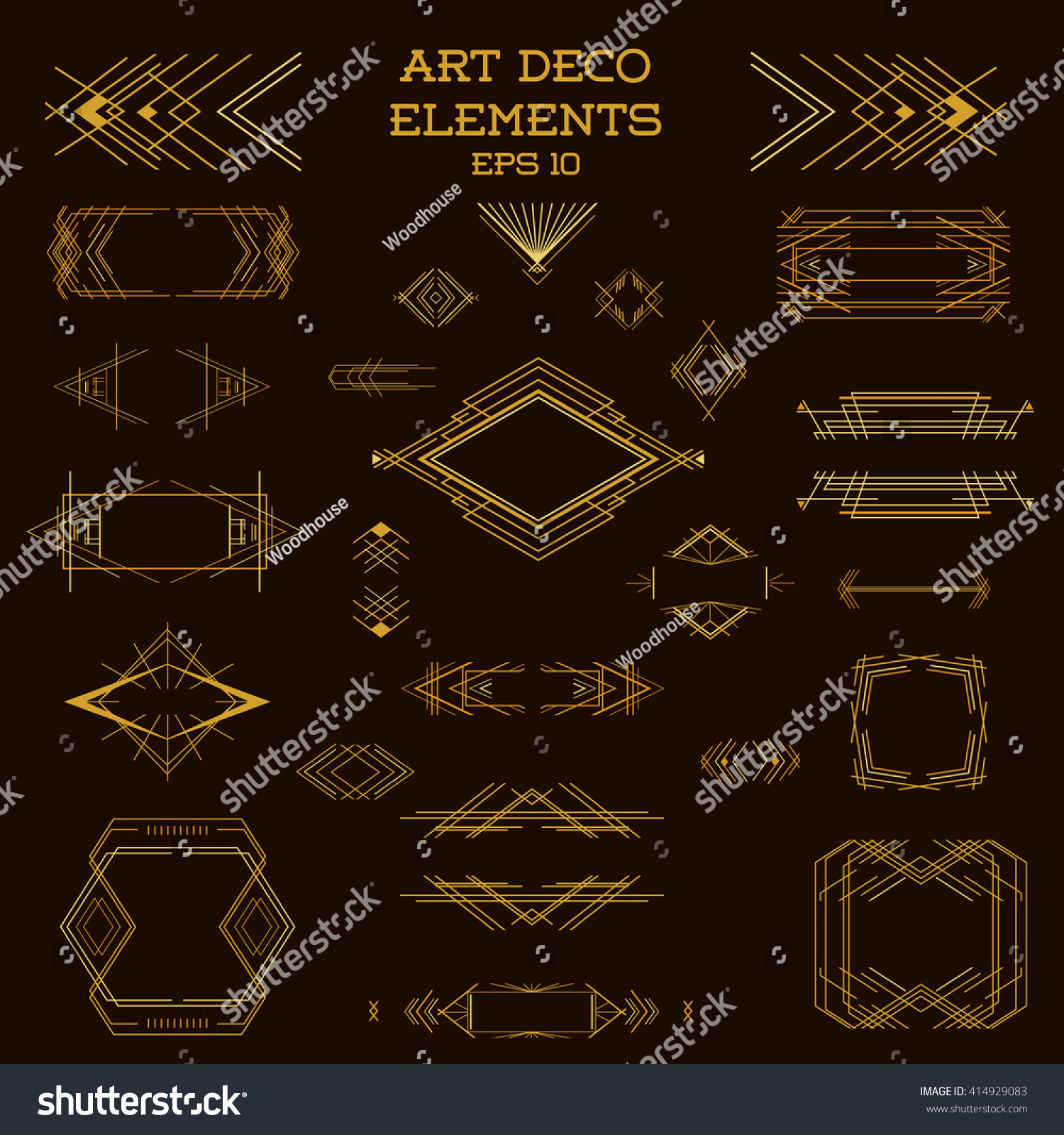 Art deco frame vintage design elements stock vector - Art deco design elements ...