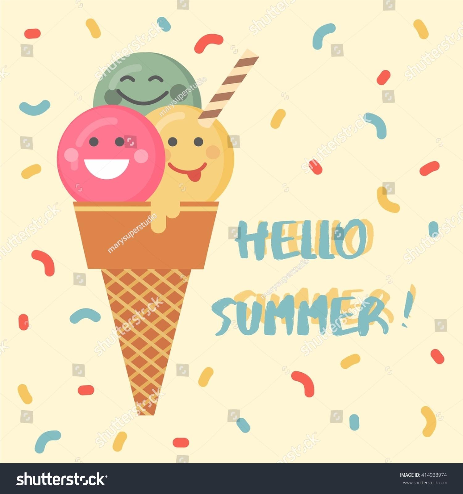 Ice Cream Emoji Illustration Vector Abstract Stock Vektorgrafik