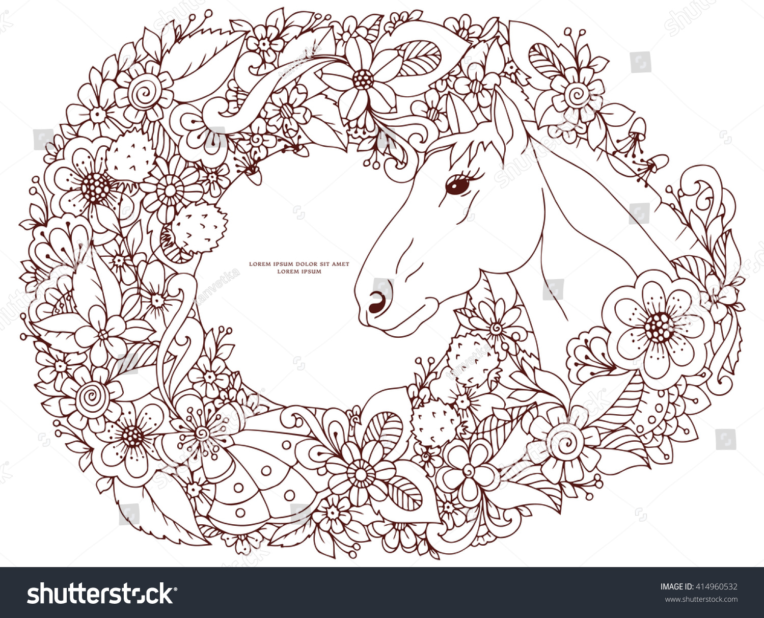 Vector Illustration Zen Tangle Horse In Flower Frame Doodle Animals Coloring Book Anti Stress
