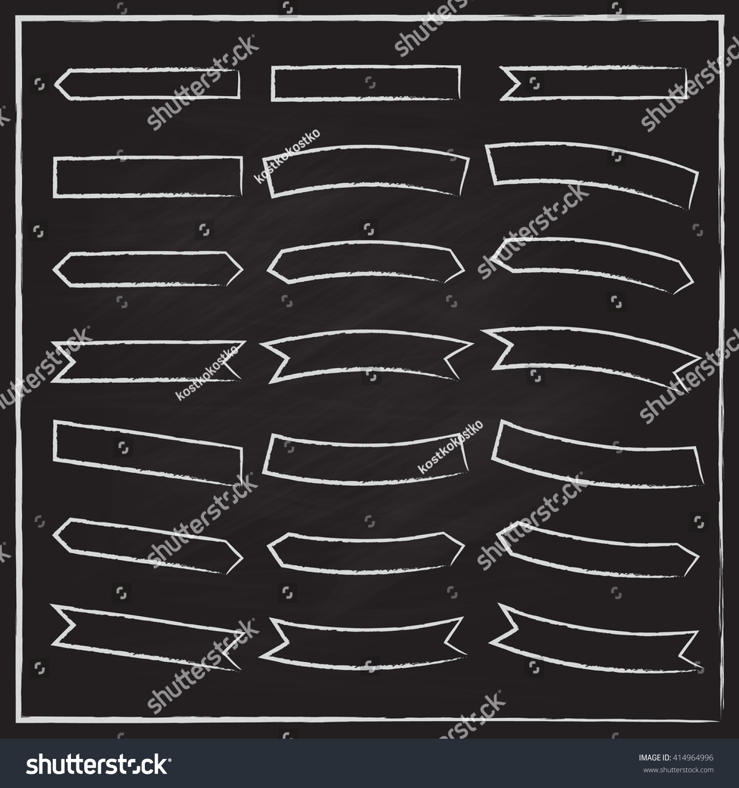 set ribbons drawing chalk banners templates stock vector royalty