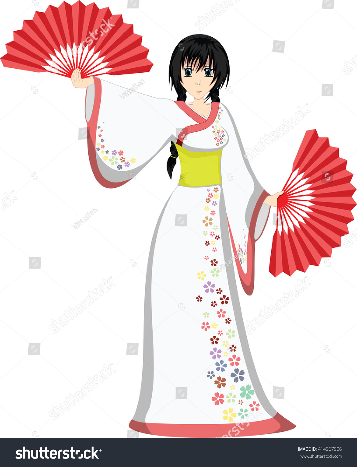 Japanese Anime Girl In White Dress Dancing With Fans