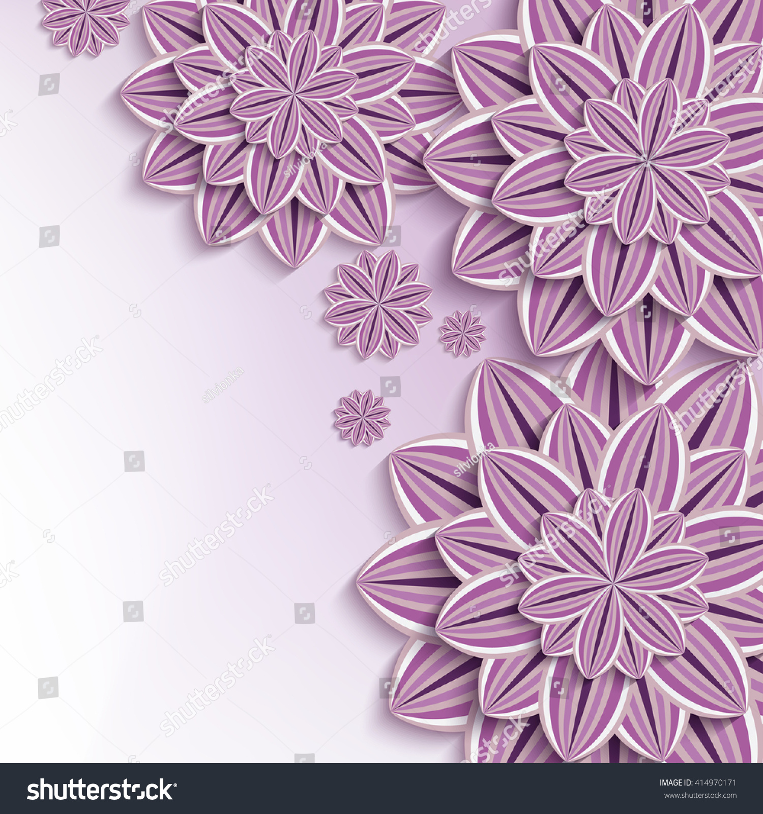 Floral Trendy Background Purple 3 D Flowers Stock Illustration
