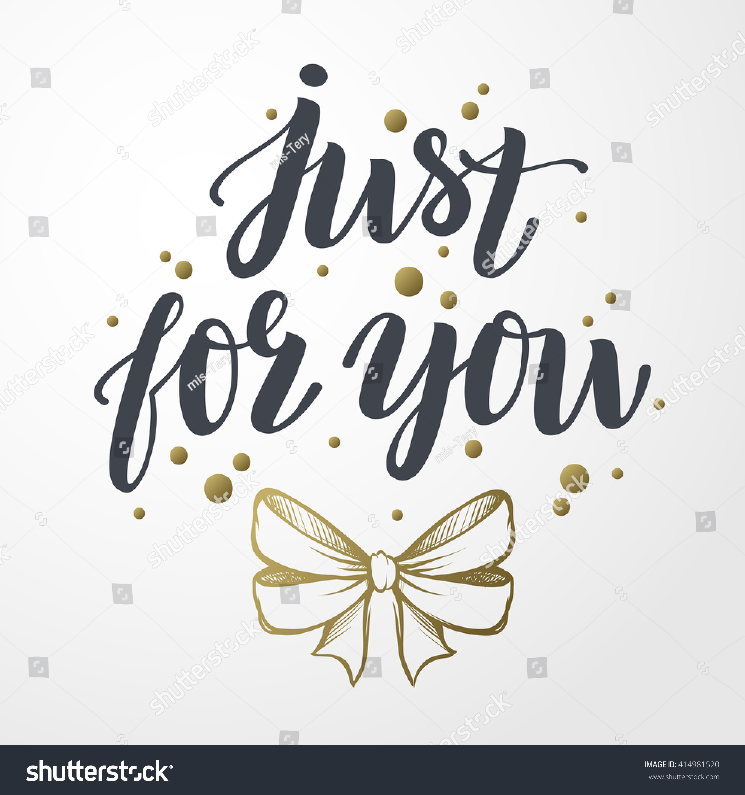 Just you vector text gold bow stock vector royalty free 414981520 just for you vector text with gold bow illustration hand drawn lettering for m4hsunfo