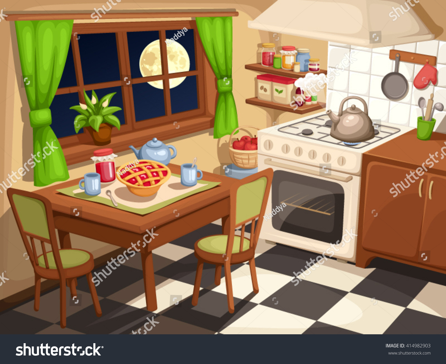 Cartoon kitchen with cabinets and window vector art illustration - Vector Illustration Of An Evening Kitchen Interior With Laid Table And A Kettle On A Stove