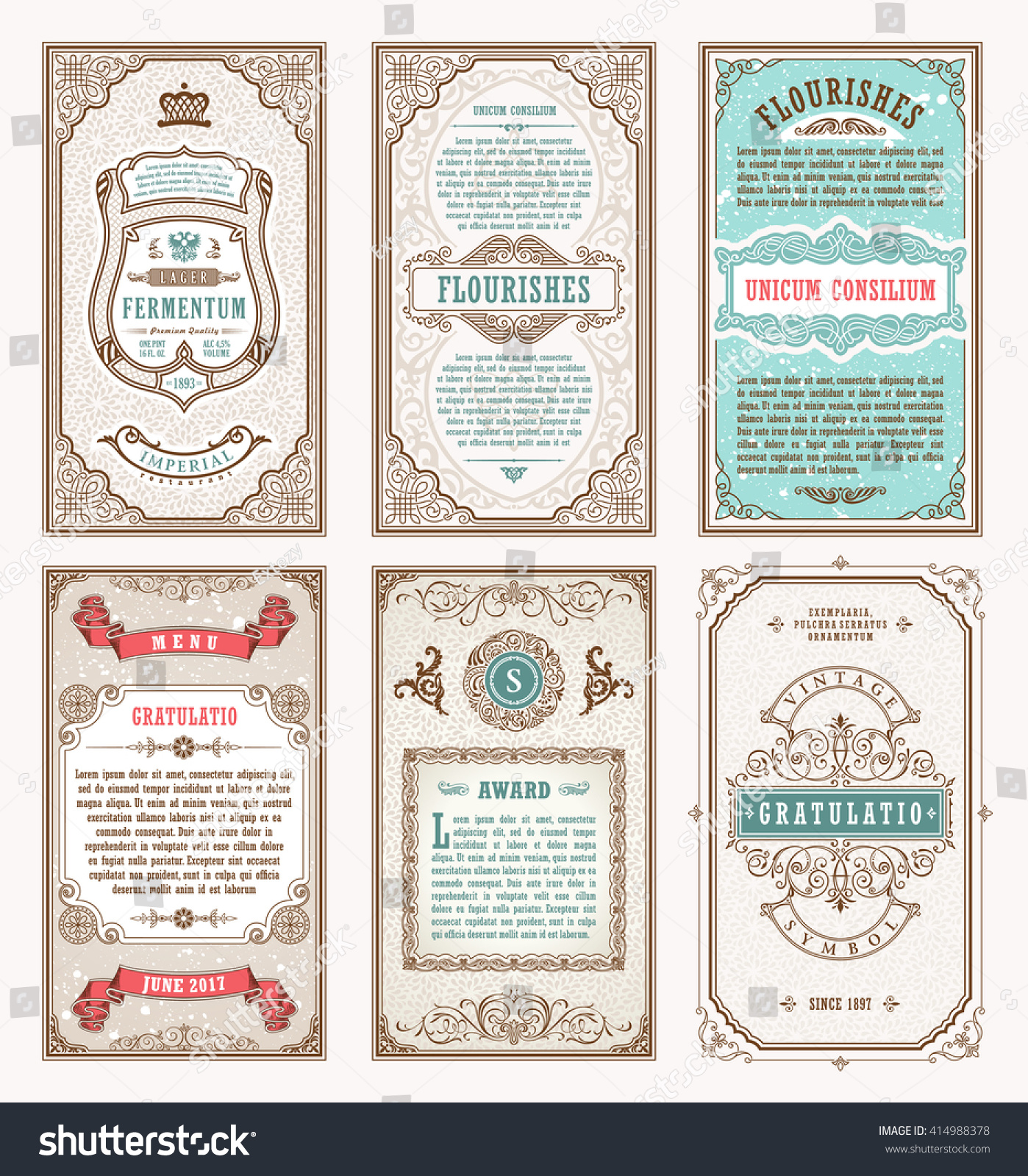 Vintage Set Retro Cards Template Greeting Stock Vector 414988378 ...