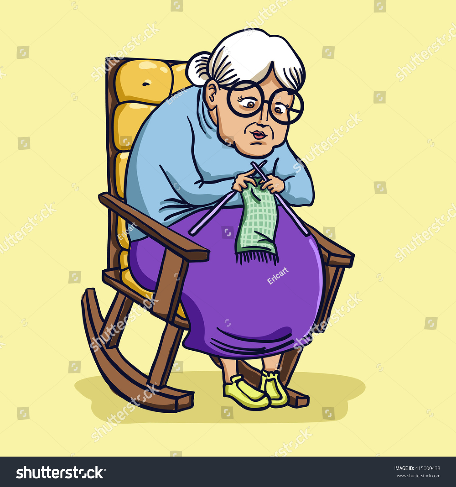 Vector Illustration Grandma Old Lady On Stock Vector