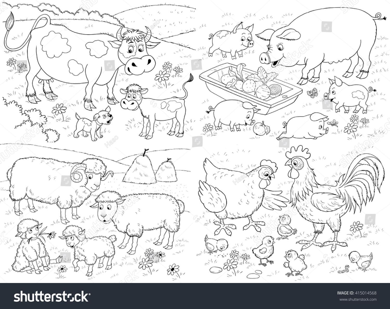 Farm Small Set Cute Farm Animals Stock Illustration 415014568 ...