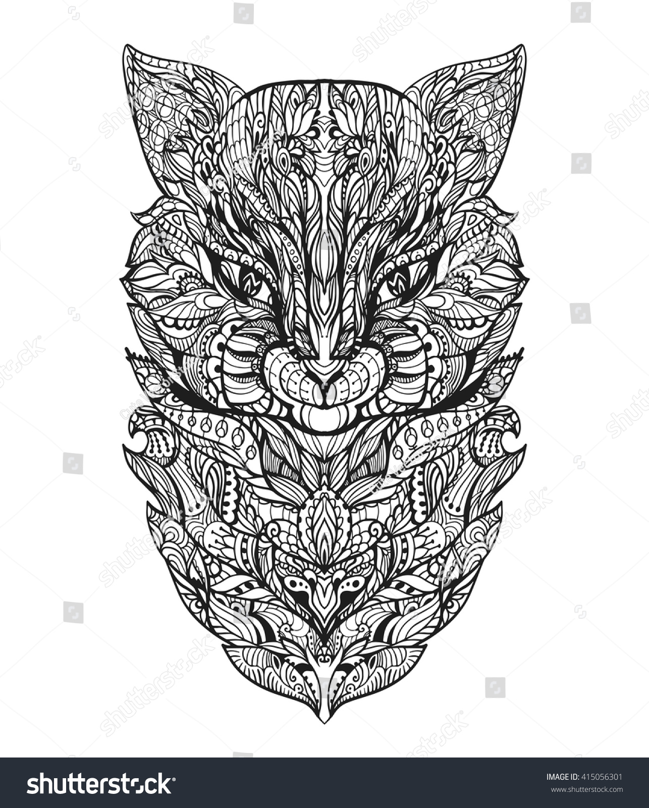 Cat Black White Zen Art Animal Head In Zentangle Style For The Adult Antistress