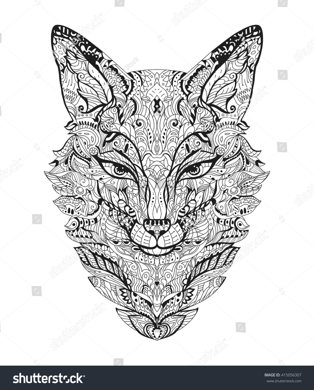 Zen colouring book animals - Zen Art Fox Zentangle Animal Head For The Adult Antistress Coloring Book On White Background