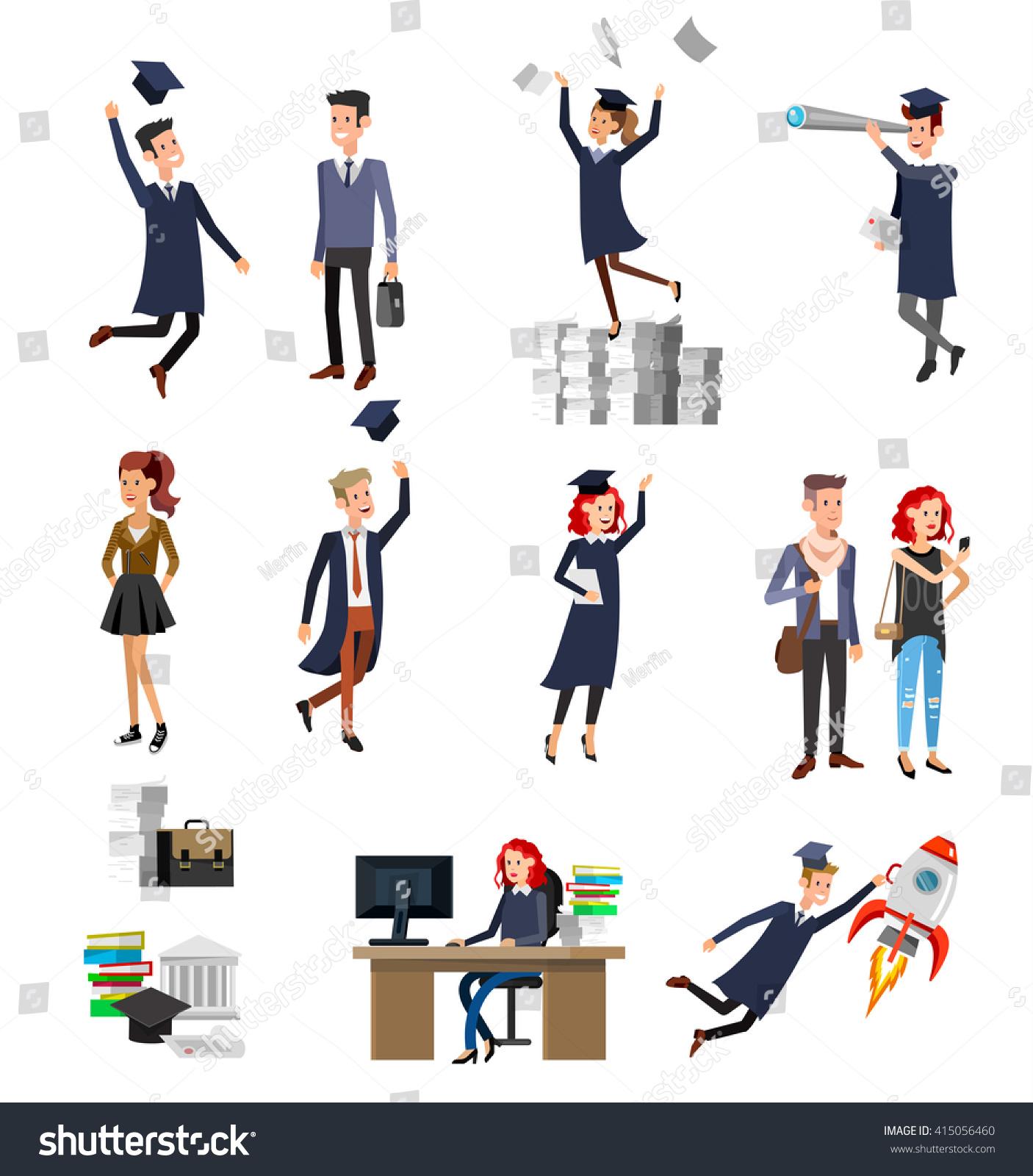 Character Design Courses University : Vector character graduate students graduation university stock