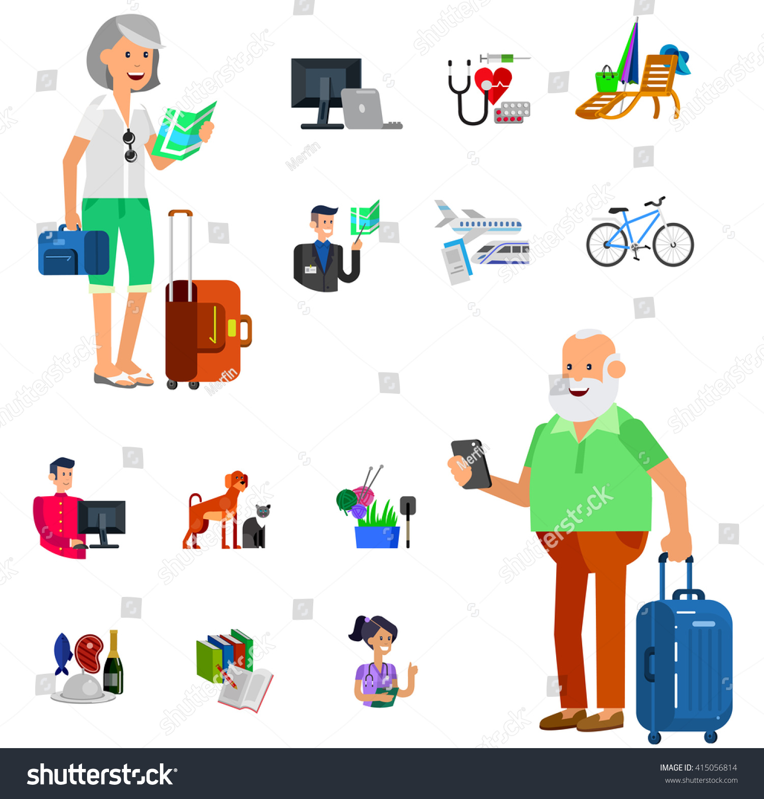 vector detailed character senior old age man and icons pension vector detailed character senior old age man and icons pension hobbies and interests leisure