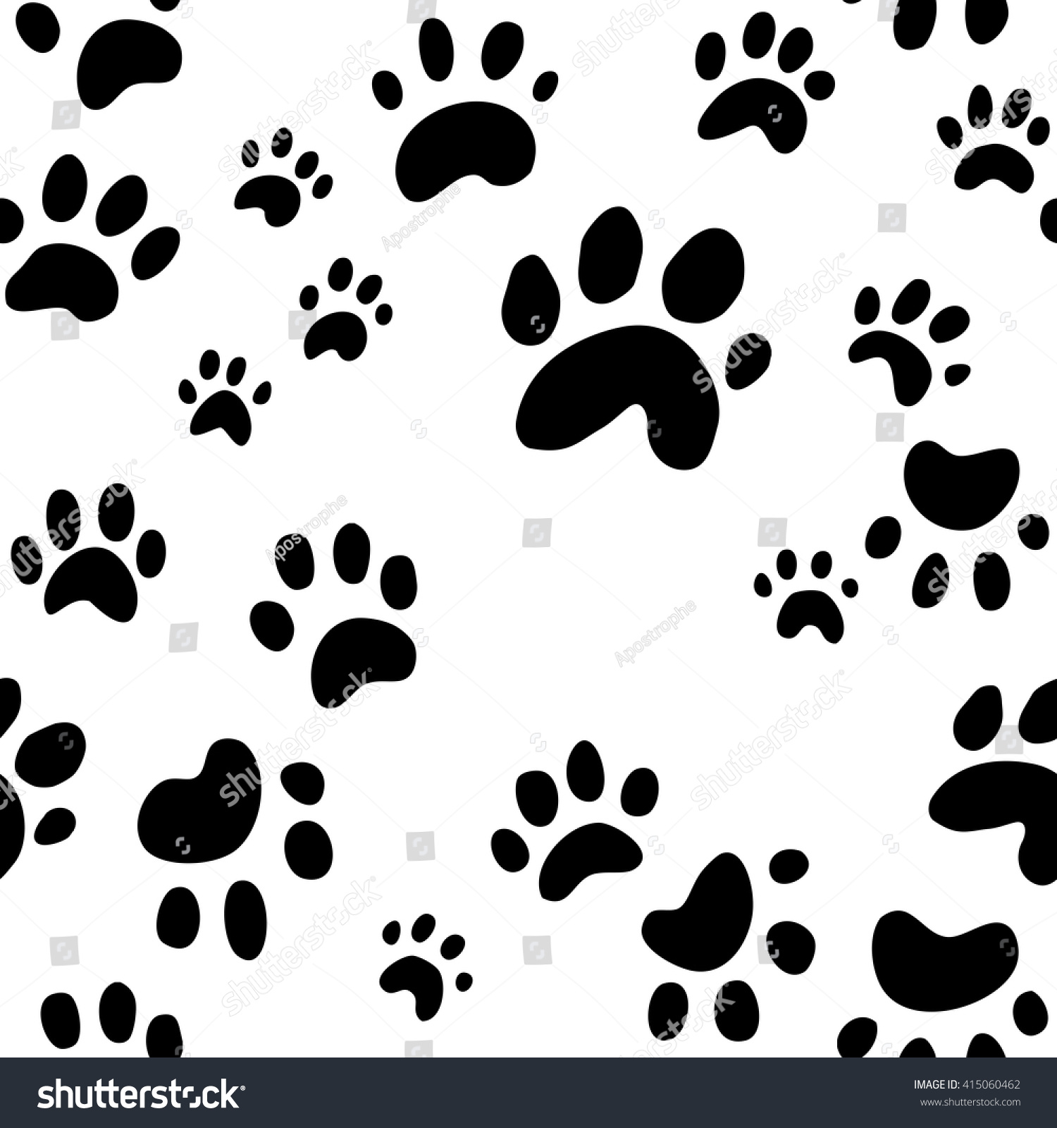 Dog Paw Print Seamless Wallpaper Background Stock Vector